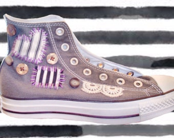 Custom Converse Sneakers with Patchwork Buttons Embroidery One of a Kind Gift for Her Personalized Chuck Taylor Shoes
