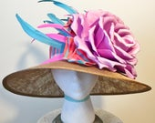 Lilac, Teal, Pink, Brown, Sinamay Kentucky Derby Hat