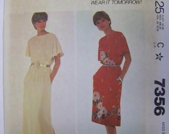 VTG 1980s McCall's 7356 Make-It-Tonight PULLOVER  Dress Pattern sz  Med 14-16 UNCUT