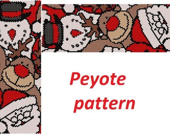 Merry Christmas Santa bead pattern for peyote deer tutorial Bead Stitching digital pattern true fairy pattern with beads jewelry Bead Design