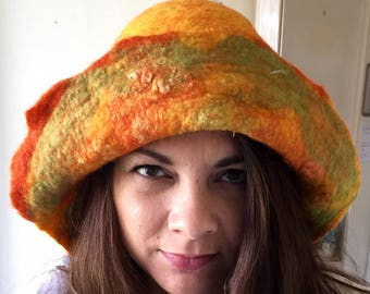 NUNO felted hat in bright orange and yellow