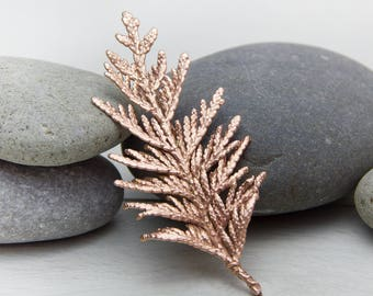 Copper brooch, Twig brooch, Brooch leaf, Juniper, Nature jewelry, Forest jewelry, Real Twig of thuja, copper jewelry, tree leaves jewelry