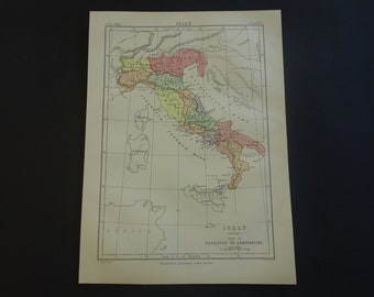 ITALY antique map of Italian history - 1880 original old English print about Roman Italy in Antiquity Augustus Constantine - vintage maps