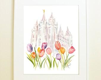 Salt Lake City LDS Temple, featuring famous Temple Square Tulips! SLC Temple Watercolor Print