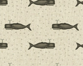 Drift Away Whale Cream Beige Grey Gray  Windham Cotton Fabric 41345-2