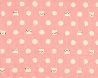 Cat Lady Pink Kitty Double Gauze Lightweight Cotton and Steel Fabric BTY