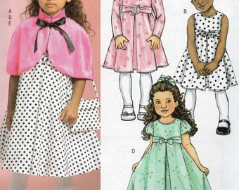 CAPELET DRESSES & BAG Butterick Pattern 4680 Girls' Sizes 6 7 8