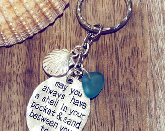 May You Always Have A Shell In Your Pocket & Sand Between Your Toes | Sea Glass Bead | Keychain | Bag Charm | Gift for Her | Beach Keyring