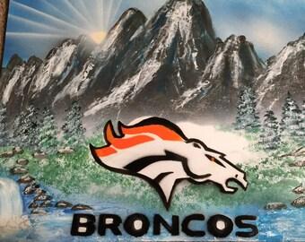 Spray Paint Art Broncos Sports Emblem Logo Colorado