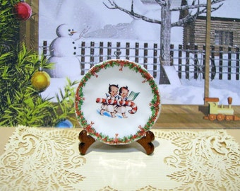 Christmas Angels  Miniature Plate 1:12 scale for Dollhouses