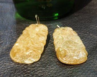 Carved Jade Earrings, 14K Gold, Natural Honey Jadeite