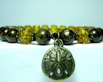 Bronzite Charm Bracelet, Boho Hippie Bracelet, Sand Dollar Bracelet, Beaded Bracelet, Beach Jewelry, Czech Glass Bracelet, Stretch Bracelet
