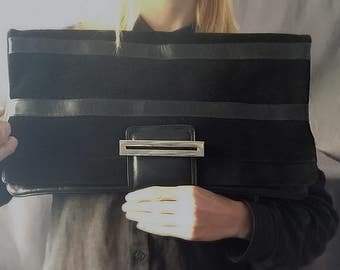 80s oversized clutch bag / black suede leather purse /vintage large clutch