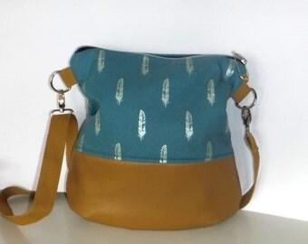 Shoulder bag shoulder bag bag spring cotton Brown leatherette er petrol 34 x 36 cm