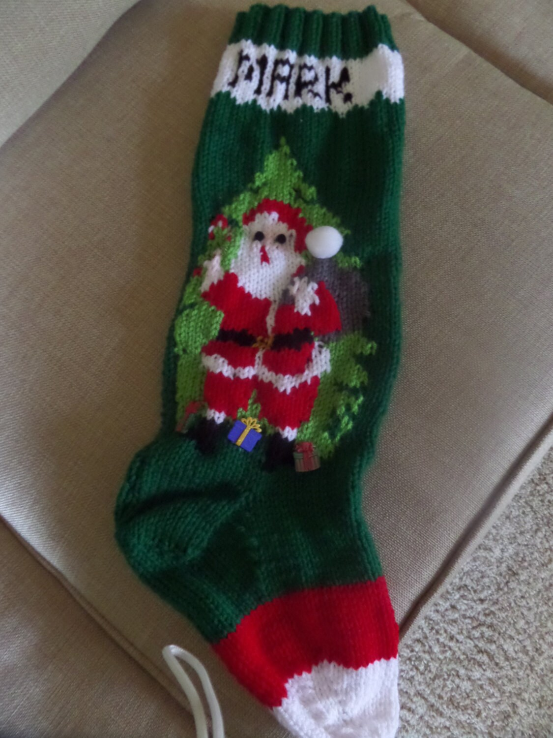 Knitting Pattern Christmas Stocking With Name : Knitted Christmas stockings