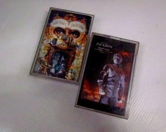 Lot of 2 Vintage Cassettes Tape MICHAEL JACKSON 1991/1995 'Dengerous/History