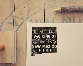 New Mexico Return Address State Stamp - Personalized Rubber Stamp