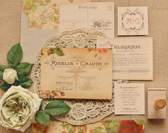 Vintage Floral Wedding Invitations - Romantic Roses and Kraft Wedding Invites - Retro Invitation Set - Printable or Printed