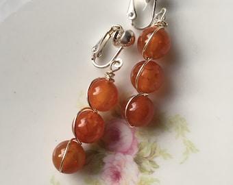 Wire Wrapped Orange Fire Agate Silver Dangle Clip On Earrings / Natural Stone Clipon / Drop Clip Earring / Pierced Nonpierced