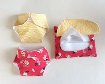 Doll Diapers & Wipes/Bitty Baby Doll Diapers/Doll Wipes/Pretend Wipes and Diapers