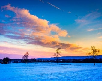 Winter sunset over a farm field in rural Frederick County, Maryland. | Photo Print, Stretched Canvas, or Metal Print.