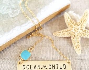 Ocean Child Bar Necklace Nameplate Necklace Stamped Ocean Beach Sea Coastal Wave