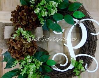 spring Wreath -summer Wreath -easter Wreath - Monogram wreath - Grapevine wreath - Outdoor wreath