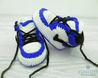 Blue Baby Booties Crochet Baby Shoes Air Jordan Baby Boy Shoes Baby Street Shoes Athletic Shoes Newborn Sneakers Shoes Blue and White
