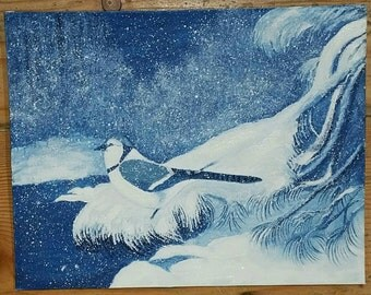 Vintage paintng, bird in winter, blue and winter, snowy bird