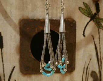 Vintage liquid silver and turquoise earrings
