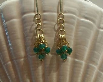 Gold and green onyx earrings