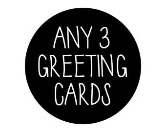 Any 3 Greeting Cards, Bulk Cards, Bulk Discount, Bulk Pack, Card Deal Pack, Buy Any 3 Cards And Save
