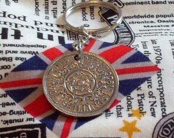 1955 Florin 2 Shilling 2 Bob Keyring Key Chain Fob Queen Elizabeth