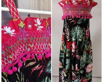 Girls Summer Dress TROPICAL PARTY Handmade OOAK
