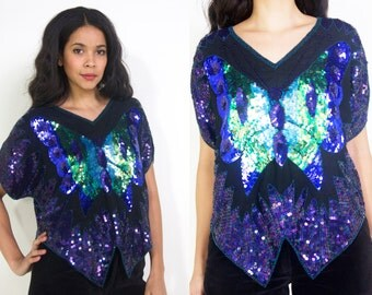 Vintage 70s Sequined Beaded Iridescent Black Blue Green Butterfly Top Disco Glam Party
