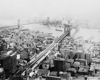 Manhattan Bridge, New York City, Early 1900's, Old Photo Reproduction