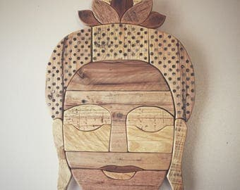 Buddha Head with lotus crown - pallet wood , rustic, zen, buddism,  boho style, Indian