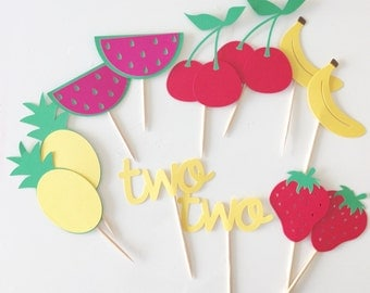 Two cupcake toppers (12 per order) twotti fruity