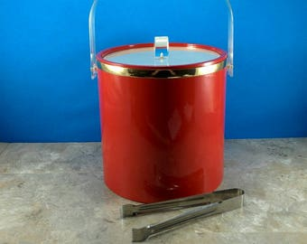 Vintage Retro Cherry Red Ice Bucket with Tongs and Clear Lid and Handle