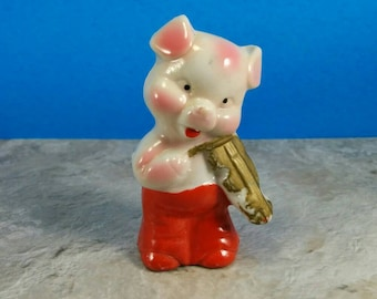 Vintage Pig Playing Violin Ceramic Figurine Miniature - Gold Violin and Red Pants - Made In Japan