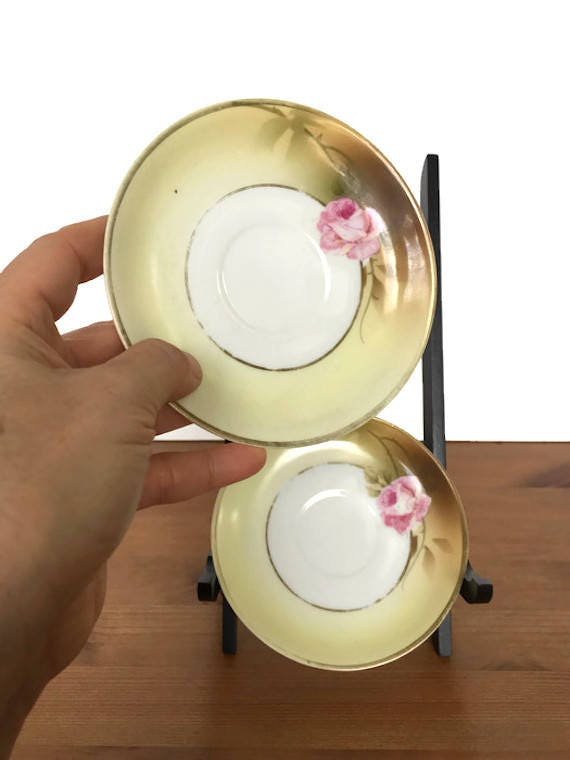 Bavarian china plates antique hand painted rose PSAG porcelain saucers