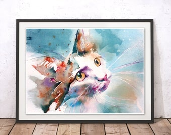 Cat Print, Watercolour Cat Wall Art with Frame, Kitten Art Print, Cat Illustration, Colorful Cat Poster, Wall Hanging by Liz Chaderton