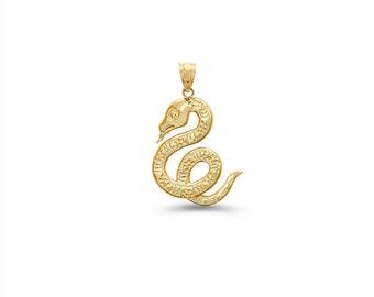 14k solid gold snake pendant.