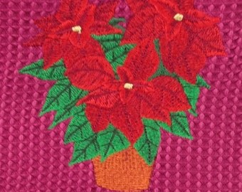 Christmas Poinsettia - Hand Towel - Burgundy