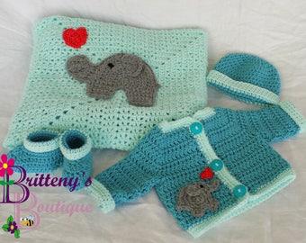 Elephant Love Baby Blanket Set Baby Elephant Blanket Baby Elephant Sweater Elephant Blanket Elephant Sweater Elephant Baby Shower Gift 0-3Mo