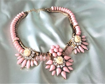 Statement necklace pink necklace romantic necklace flowers