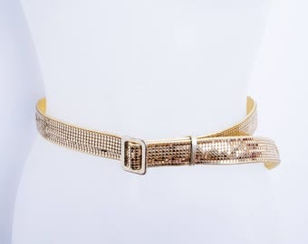 1970's Whiting and Davis Metal Mesh Belt Disco Gold Leather