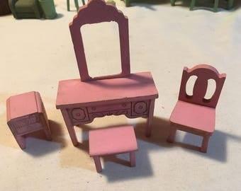 Vintage Wood Dollhouse Pink Dresser Set