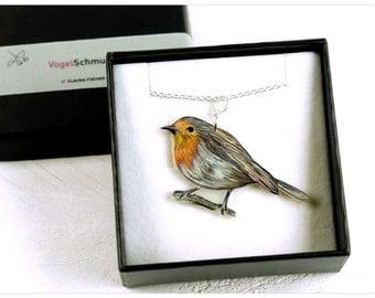redbreast necklace, bird necklace, robin necklace, redbreast, robin, bird pendant, bird jewelry, ooak