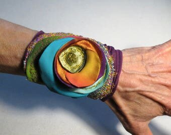 boho Cuff Bracelet jewelry, bracelet, gipsy, purple cloth, with flower, Orange, Turquoise Jewelry, recycled fabric cuff bohemian bv1